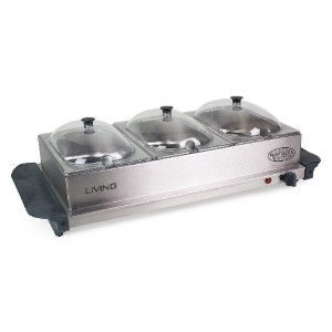 Living by Nostalgia BCD332 3-Station Mini Buffet Server with Warming Tray【並行輸入品】