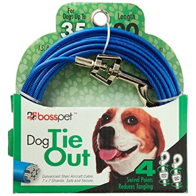 Warren Pet Products 20ft Tie-Out Cable for Medium To Large Dogs by Warren
