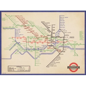 Pyramid International London Underground Vintage 1936 Map Art Print, 60cm x 80cm (24 x 32-inch) by...