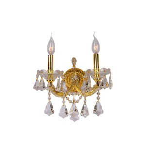 Worldwide Lighting W23070G12 Maria Theresa 2 Light with Clear Crystal Wall Sconce, Gold Finish by...