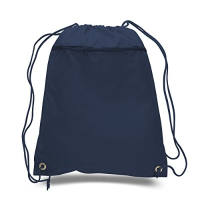 (Navy) - (12 Pack) Set of 12- Economical Drawstring Polyester Backpack with Front Pocket (Navy)