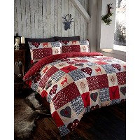 Thru The Lens Stag Red Hearts Double Quilt Duvet Cover and 2 Pillowcase Bedding Bed Set Patchwork...