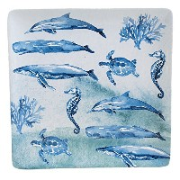 "Certified International by Lisa Audit Sea Life Square Platter 12.5"" 15335"