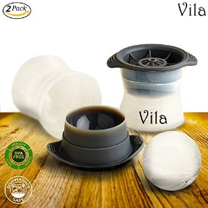 2Perfect球Ice Molds by Vila–プレミアムバー&パーティー不可欠–コンパクト、no-spillストレージ–Sealedデザイン結果in fresh &無臭キューブ...