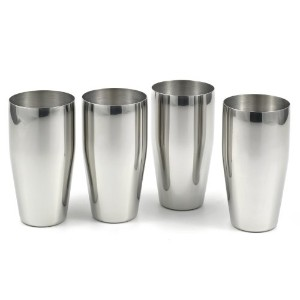 4-piece Brilliant Stainless Steel Tumblers / (24 Oz) Drinking Glass Set - Quality StainlessLUX...