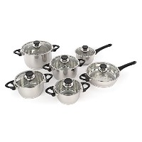 Berghoff - Stainless Steel Studio Cookware Set with Vision Premium Glass Lids - 12 pieces