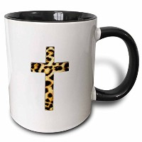 InspirationzStore Christianデザイン – Christian Cross With Leopardスポットパターン – Faux Cheetah動物印刷 – マグカップ...