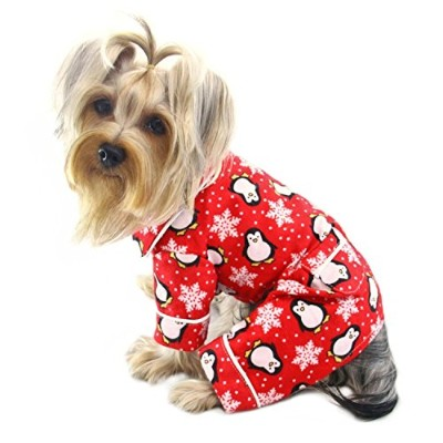 Adorable Penguins & Snowflake Flannel Pajamas (Red) - LARGE by Klippo Pet