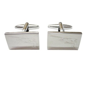 Silver Toned Etched Stealth Bomber Plane Cufflinks