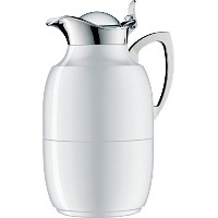 Alfi Juwelガラス真空ラッカー塗装メタルThermal Carafe for Hot and Cold Beverages、1.0 L、極ホワイト