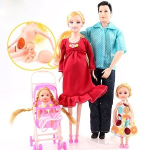 Toys Family of 5 People Baby Dolls Suits with Real Pregnant 1 Mom 1 Dad 2 Little Girls 1 Baby Son 1...