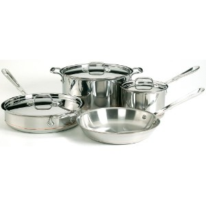 All-Clad 6000-7 SS Copper Core 5-Ply Bonded Dishwasher Safe Cookware Set, 7-Piece, Silver by All...
