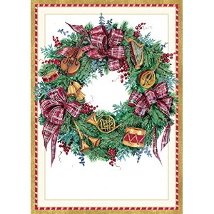 Entertaining with Caspari Musical Wreathクリスマスカード(ボックスof 16 )、4 by 5 – 3 / 4 ""