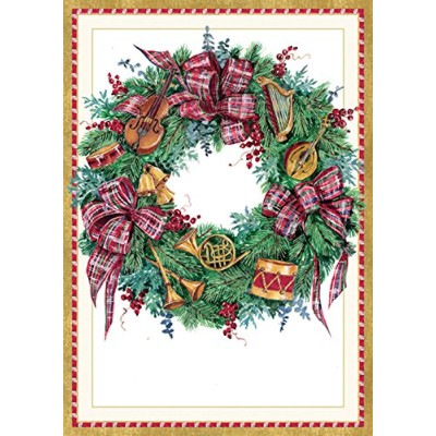 """Entertaining with Caspari Musical Wreathクリスマスカード(ボックスof 16)、4by 5–3/ 4"""""""