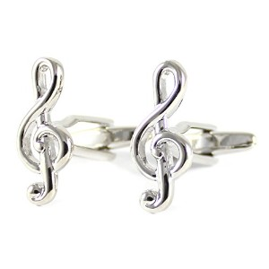 mendepot Treble Clefsカフリンクボックスロジウムメッキの音楽Clefs Cufflink