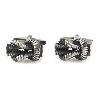 mendepotクラシックBurnishedシルバーヴィンテージSquare Knot Cufflink withボックス