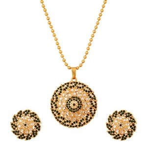 Touchstone Indian Bollywood Kundan Look Faux Emeralds Leafy Jewellery Pendant Set inアンティークゴールドトーン