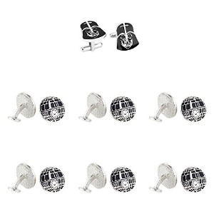 Super Hero Groom 's 7パックDarth Vader & Death Star Cuff Links withギフトボックスbyスーパーヒーロー