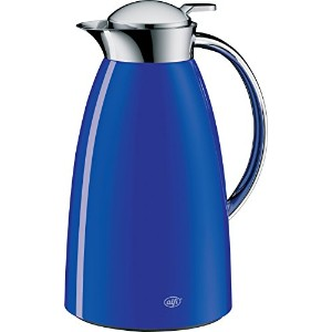 Alfi Gustoガラス真空ラッカー塗装メタルThermal Carafe for Hot and Cold Beverages、1.0L、ロイヤルブルー