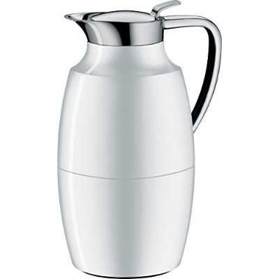 Alfi Pallasガラス真空ラッカー塗装メタルThermal Carafe for Hot and Cold Beverages、1.0L、極ホワイト