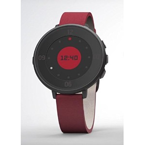 Pebble ぺブル 14 mm Time Round Smartwatch - Black with Flame Red Leather 極薄かつ超軽量の丸型スマートウォッチ [並行輸入品]