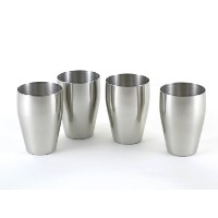 4-Pc Brilliant Stainless Steel Small Drinking Glass Set (8 Oz) / Small Tumbler Set - Quality...