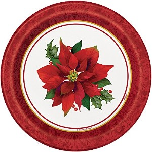 Holly Poinsettia Holiday Dessert Plates , 8ct