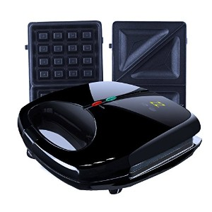 ZZ S6142B 2-in-1 Waffle & Sandwich Maker with 2 Sets of Detachable Non-Stick Plates, Black by ZZ