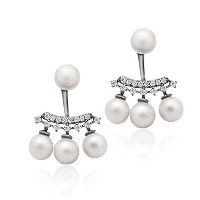 925 Sterling Silver Earrings, Ear Jacket Pearl Earrings, Pearl Ball Earrings, Classic Cultured...