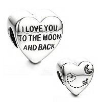 """Best Wingジュエリー。925スターリングシルバー"""" I Love You To The Moon And Back """"チャームビーズ"""