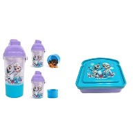 Disney Frozen Water Bottle with Straw attached Snack Canteenとパン型サンドイッチコンテナセット