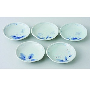 波佐見焼 はなぞめ なぶり小皿揃 小皿 Japanese Porcelain Hasami ware gift. Set of 5 hanazome small dish with paper...
