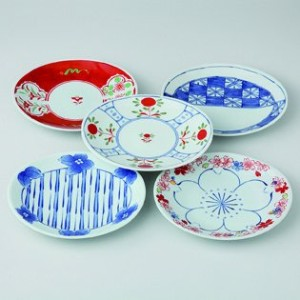 波佐見焼 染錦ロマン 楕円皿揃 小皿 Japanese porcelain Hasami ware. Set of 5 somenishiki roman small plates.