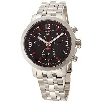 ティソ Tissot 腕時計 メンズ 時計 Tissot PRC 200 Chronograph Black Dial Stainless Steel Mens Watch T055417110570...