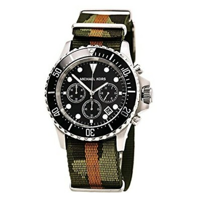 マイケルコース Michael Kors メンズ 腕時計 時計 Michael Kors Everest Grosgrain Black Dial Mens Watch MK8399