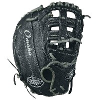 ルイスビルスラッガー メンズ 野球 グローブ【Louisville Slugger Omaha Single Post Web First Base Mitt】Black/Silver