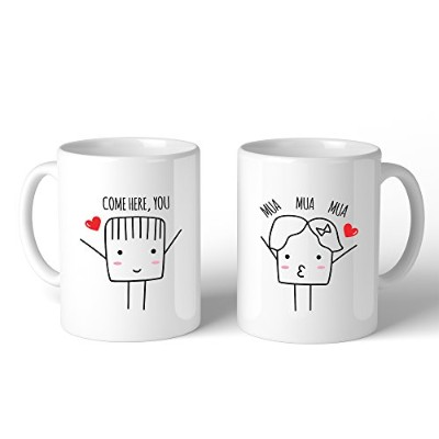 365 Printing Come Here Mua Mua Mua White Matching Couple Mugs Cute Wedding Gifts