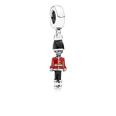 PANDORA Charms パンドラ チャーム - 黒と赤のエナメルとおもちゃの兵士シルバーダングル - Toy soldier silver dangle with black and red...