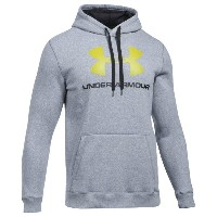 アンダーアーマー メンズ トップス パーカー【Under Armour Rival Fitted Graphic Hoodie】True Grey Heather/Black/Smash Yellow