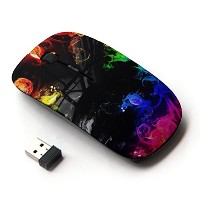 KOOLmouse [ ワイヤレスマウス 2.4Ghz無線光学式マウス ] [ Ink Fire Flames Black Rainbow Colorful ]