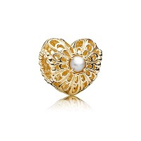PANDORA Charms パンドラ チャーム - 白い淡水養殖真珠を使った開け心地のゴールドの魅力 - Openwork heart gold charm with white...