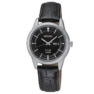 [セイコー]Seiko 腕時計 SUT161P2 Black Dial Black Leather Band Watch Solar [並行輸入品]
