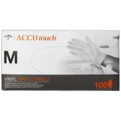 Medline Accutouch Powder-Free, Latex-Free Synthetic Exam Gloves Clear, Medium, 100 Count by Medline