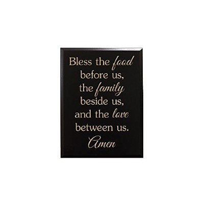 """Timber Creek Design Decorative Carved Wood Sign with Quote """"Bless the food before us, the family..."""