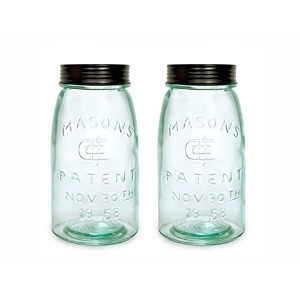 Colonial Tin Works Mason Jar, One Quart, Set of 2 Jars. Each Jar is 4 Inches in Diameter by 7.75...