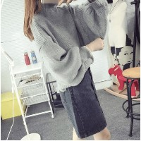 High collar bat shirt women autumn tide wide loose sweater puff sleeves sleeves 2015 new lantern sle