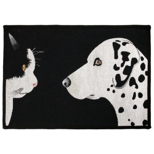 Park B. Smith PB Paws & Co. Best Friends Tapestry Indoor/Outdoor Pet Mat Rug, 19 x 27, Black/White...