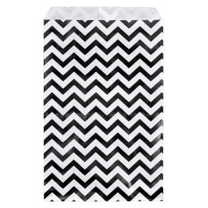 200 pcs Black Chevron Paper Gift Bags Shopping Sales Tote Bags 6 x 9 Black and White Zig Zag Design...
