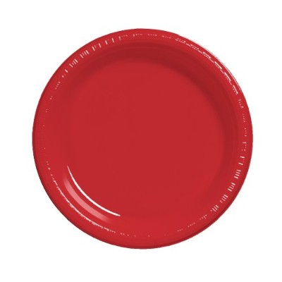 Creative Converting 20-Count Touch of Colour Plastic Dinner Plates, Classic Red