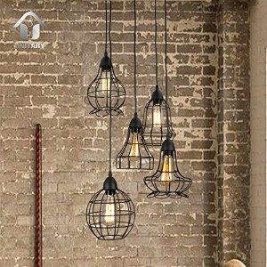 Unitary Brand Rustic Barn Metal Chandelier Max 200w with 5 Lights Black Finish by Unitary